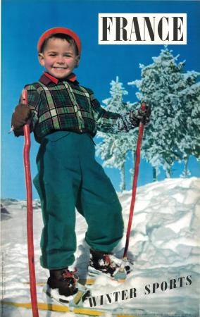 FRANCE WINTER SPORTS - affiche ancienne de Machatchek (ca 1956)