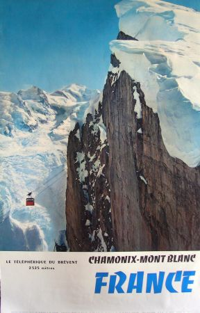 FRANCE CHAMONIX-MONT-BLANC, LE TELEPHERIQUE DU BREVENT - affiche ancienne photo de Tairraz - 1959