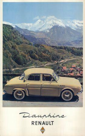 affiche originale renault dauphine sur une route des alpes. Black Bedroom Furniture Sets. Home Design Ideas
