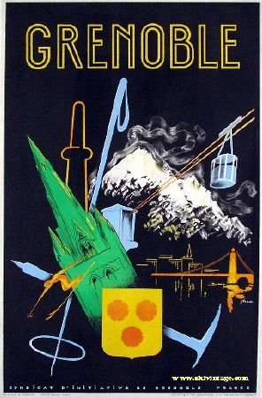 GRENOBLE, SYNDICAT D'INITIATIVE - affiche ancienne de J. Pichal (vers 1950)