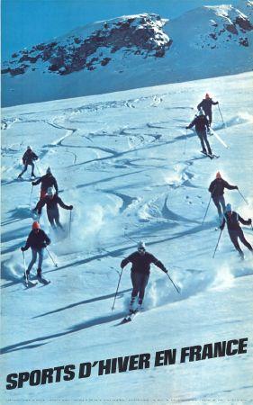 affiche publicitaire ancienne ski sports d 39 hiver en france 1968. Black Bedroom Furniture Sets. Home Design Ideas